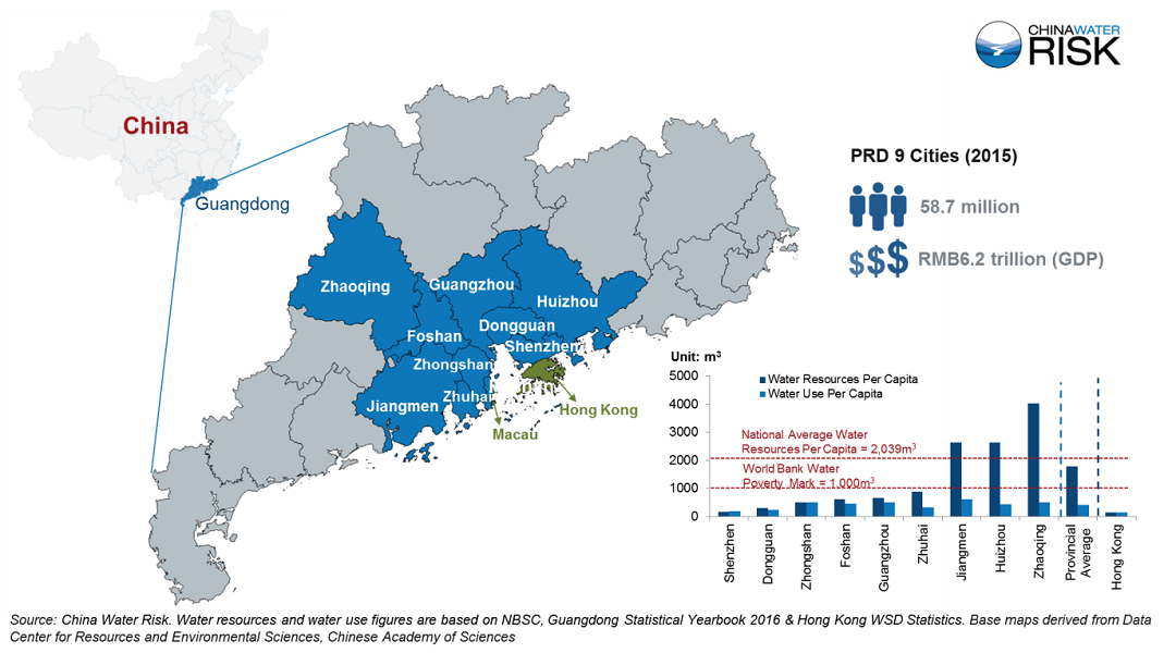 PRD 9 Cities Map & Water Resources Per Capita